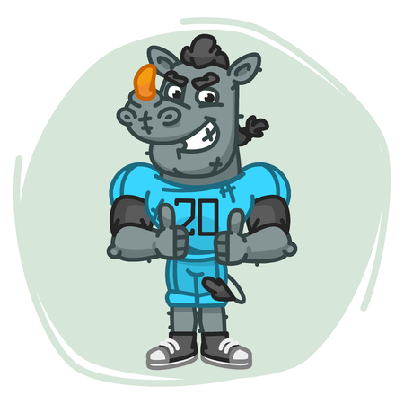 Rhino Football Player Angry Shows Thumbs Up. Vector Illustration. Mascot Character.