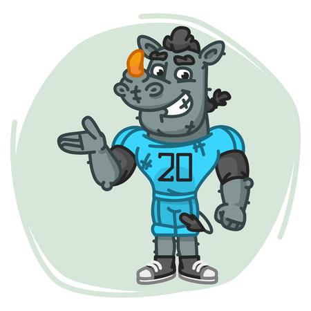 Rhino Football Player Shows. Vector Illustration. Mascot Character.