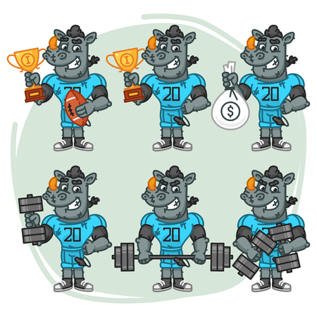 Character Set Rhino Football Player Holds Cup Money Dumbbell. Vector Illustration. Mascot Character.