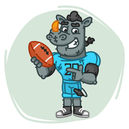 Rhino Football Player Points on Ball. Vector Illustration. Mascot Character.