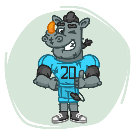 Rhino Football Player Shows Finger Up and Winks. Vector Illustration. Mascot Character. Illustration