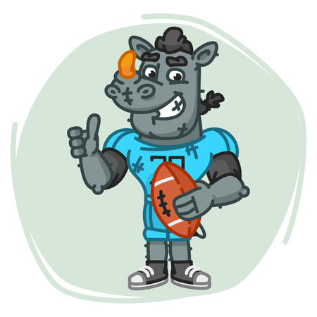 Rhino Football Player Holds Ball Shows Thumbs Up. Vector Illustration. Mascot Character. Illustration