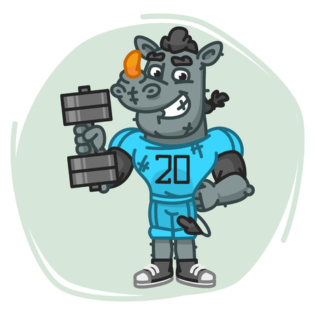 Rhino Football Player Holds Dumbbell. Vector Illustration. Mascot Character.