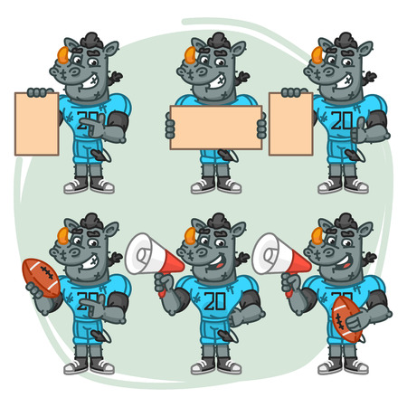 Character Set Rhino Football Player Holds Megaphone Ball Paper. Vector Illustration. Mascot Character.