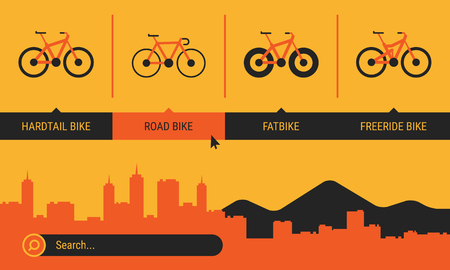 Site Header Different Bicycle Bikes Search Orange Yellow Black Color. Vector Illustration. Set Objects.