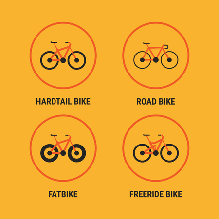 Icons Different Bicycle Bikes Option 1. Vector Illustration. Set Objects.