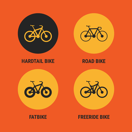 Icons Different Bicycle Bikes Option 3. Vector Illustration. Set Objects.