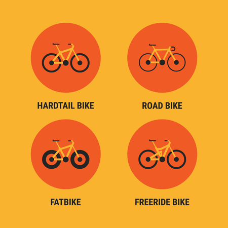 Icons Different Bicycle Bikes Option 2. Vector Illustration. Set Objects.