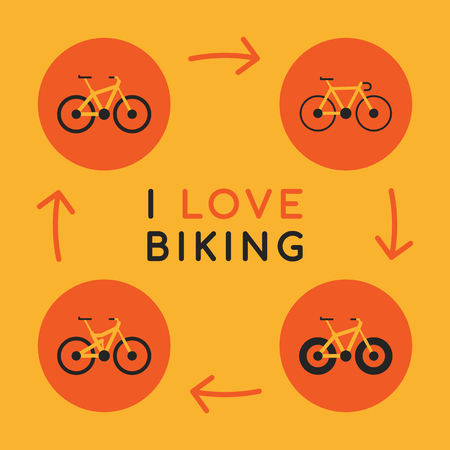 Concept I Love Biking Icons Different Bicycles. Vector Illustration. Set Objects.