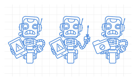 Three variants robot character holding tablet screwdriver folder scribble. Vector illustration. Mascot character.