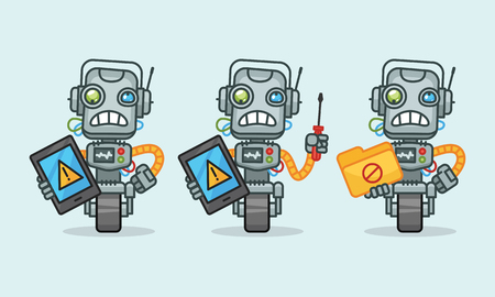 Three variants robot character holding tablet screwdriver folder. Vector illustration. Mascot character. 向量圖像