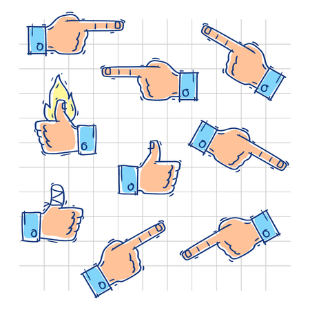 Hands show likes and point in different directions. Vector illustration. Doodle sketch. Illustration