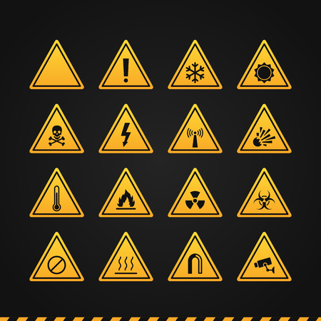 Set Warning Signs. Vector illustration. Icon Set.