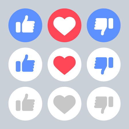 Set Icons Like Do Not Like Heart. Icons Objects.