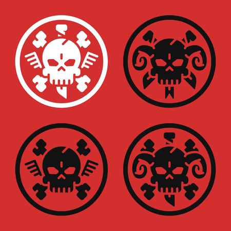 Tattoo Concept. Skull Bone Knife Horn. Set Signs. Danger Objects. Vector illustration. Set Icons.