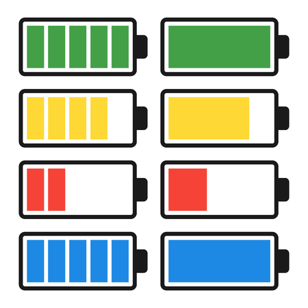 Battery Discharge and Charge. Set Icons. Vector Illustration.