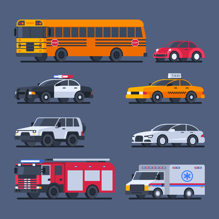 City transport and official transport set cars. Vector Illustration.