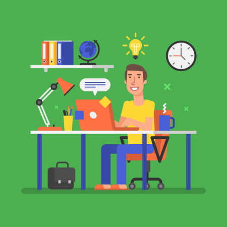 Man is sitting at table with computer and came up with an idea. Vector illustration.
