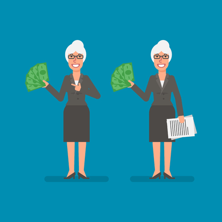 Old business woman holds paper money holds documentation and smiling. Business people. Vector illustration. Ilustracja