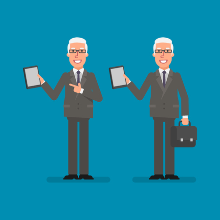 Old businessman holds tablet holds suitcase and smiling. Business people. Vector illustration.