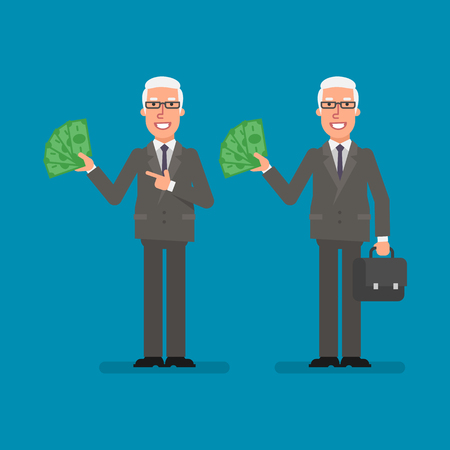 Old businessman holds paper money holds suitcase and smiling. Business people. Vector illustration. Ilustracja
