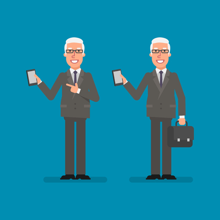 Old businessman holds mobile phone holds suitcase and smiling. Business people. Vector illustration.
