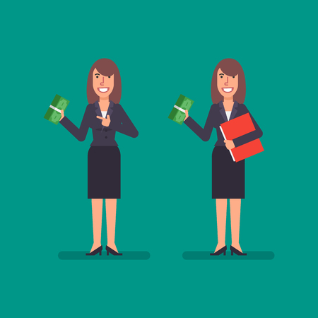 Business woman holds bundle money holds folder and smiling. Business people. Vector illustration.