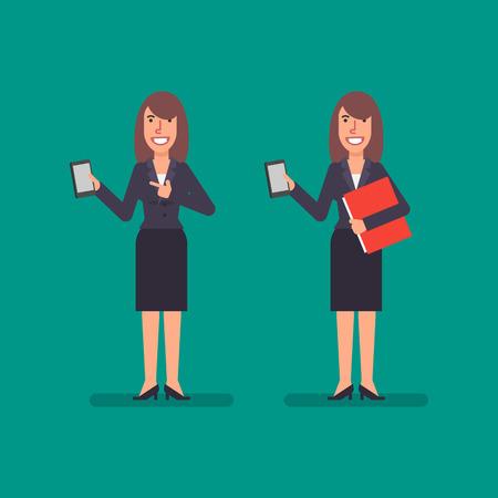 Business woman holds mobile phone holds folder and smiling. Business people. Vector illustration. Ilustracja