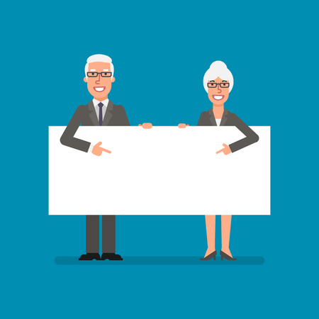 Old businessman and business woman holds and points to clean sheet paper. Business people. Vector illustration. Ilustracja