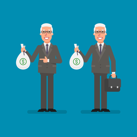 Old businessman holds bag money holds suitcase and smiling. Business people. Vector illustration.