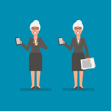 Old business woman holds mobile phone holds documentation and smiling. Business people. Vector illustration. Ilustracja