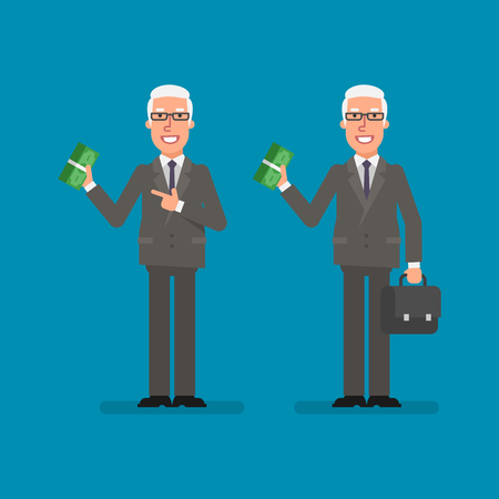 Old businessman holds bundle money holds suitcase and smiling. Business people. Vector illustration. Ilustracja