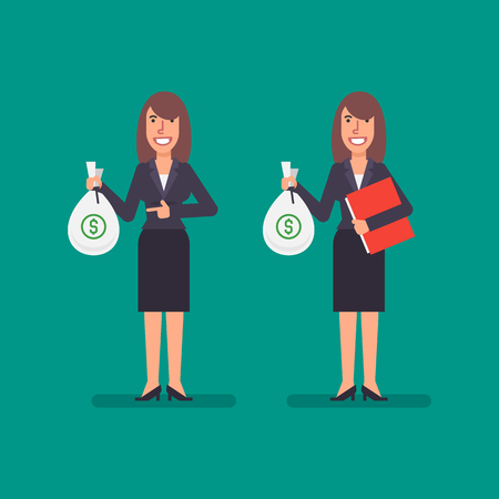 Business woman holds bag money holds folder and smiling. Business people. Vector illustration.