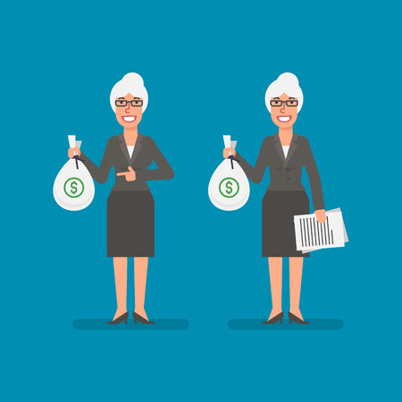 Old business woman holds bag money holds documentation and smiling. Business people. Vector illustration. Ilustracja