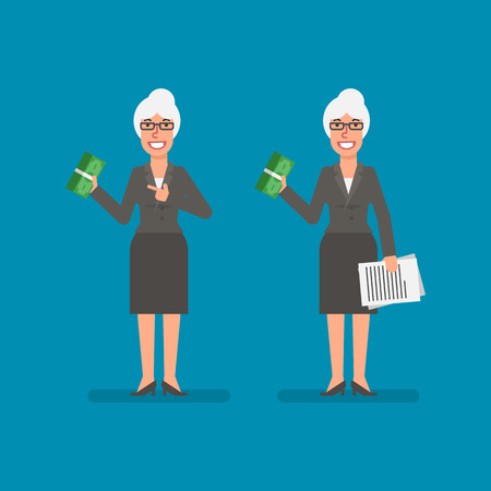 Old business woman holds bundle money holds documentation and smiling. Business people. Vector illustration. Ilustracja