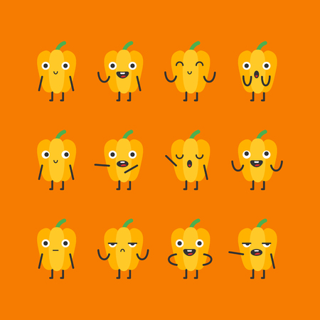 Yellow pepper character set different options and emotions. Vector Illustration. Illustration