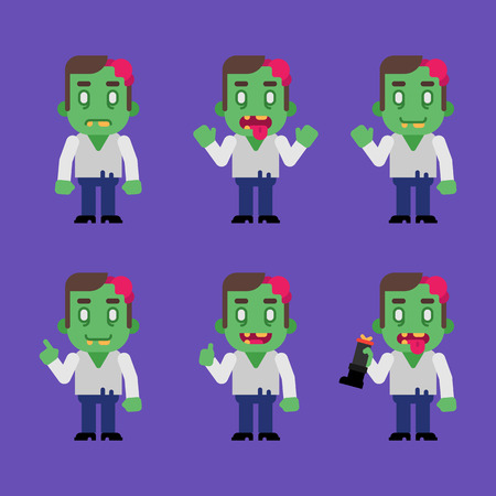 Zombie character in various poses. Halloween character.. Vector Illustration.