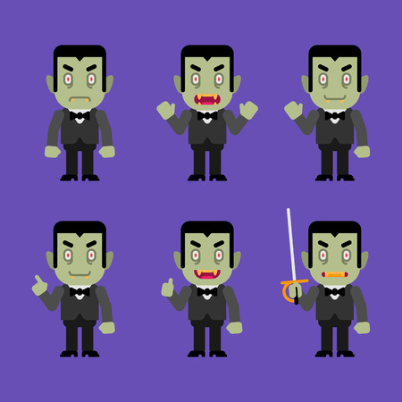 Vampire character in various poses. Halloween character. Vector Illustration.