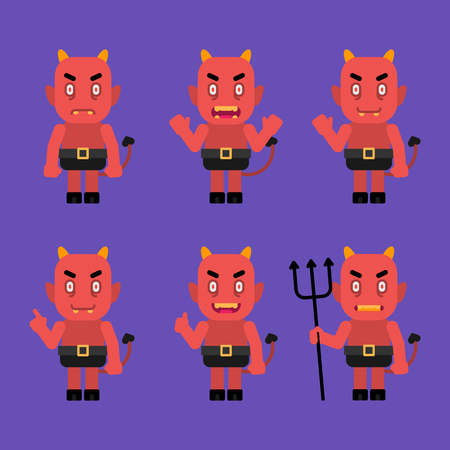 Daemon character in various poses. Halloween character. Vector Illustration. Illustration