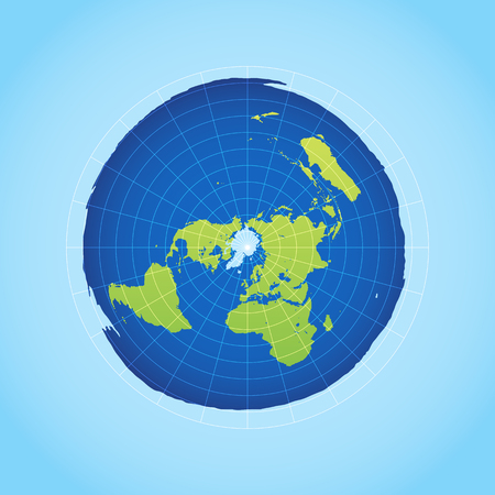 Azimuthal projection flat land on light background. Vector Illustration.