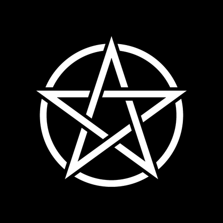 Pentacle magic sign. Black background. Vector Illustration.
