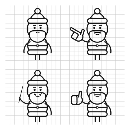 Santa Claus in various poses. Drawn lines. Character set. Part 2. Vector Illustration. Ilustracja