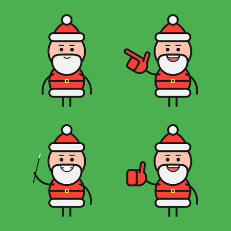 Santa Claus in various poses. Character set. Part 2. Vector Illustration.