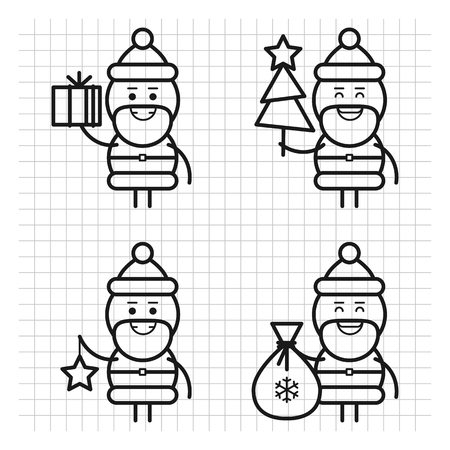 Santa Claus in various poses. Drawn lines. Character set. Part 3. Vector Illustration.