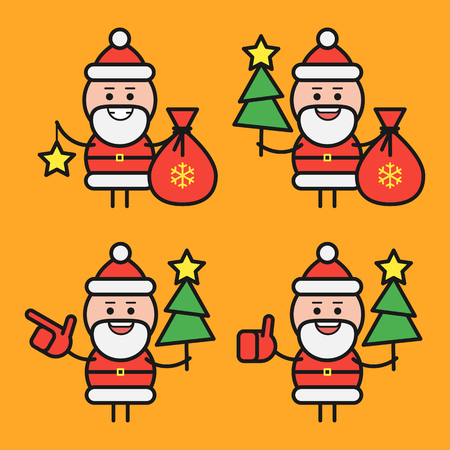 Santa Claus in various poses. Character set. Part 1. Vector Illustration.