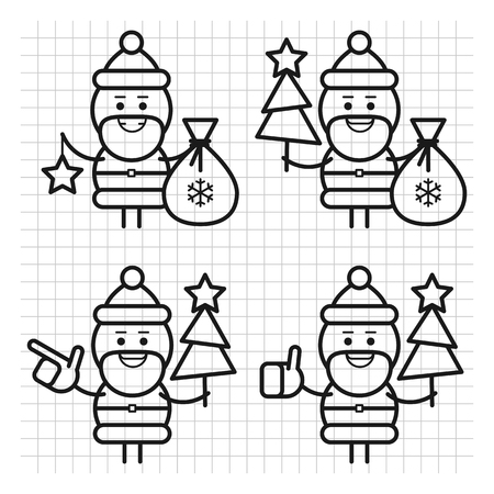 Santa Claus in various poses. Drawn lines. Character set. Part 1. Vector Illustration. Ilustracja