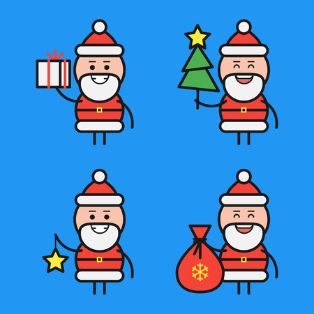 Santa Claus in various poses. Character set. Part 3. Vector Illustration. Ilustracja
