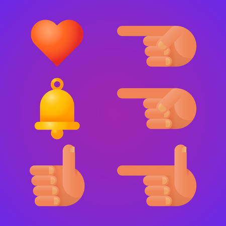Icons bell heart index finger thumb up. Set of icons. Vector Illustration