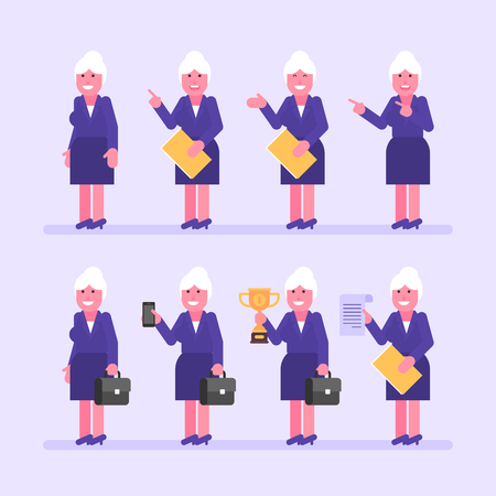 Old business woman holds suitcase folder and various objects. Character set. Vector Illustration
