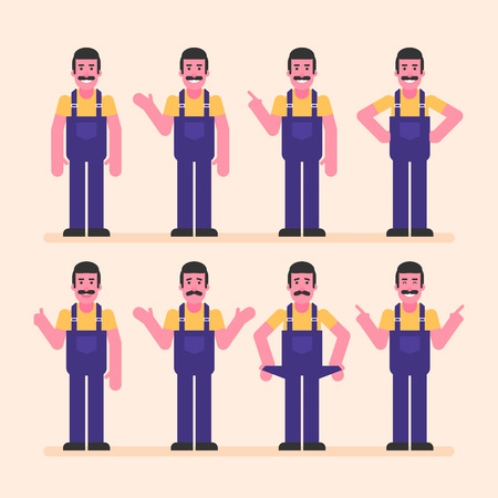 Repairman points and shows. Character set. Vector Illustration Ilustracja